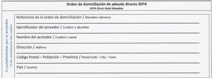 Modelo de orden de domiciliación SEPA Word
